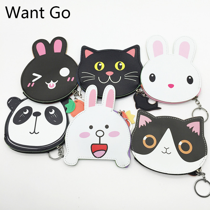 Want Go Cute Cartoon Animal Children Coin Purses Kids Coin Bag Girls Zipper Leather Mini Change Wallet Purses Small Storage Bag 2017 new coin purses wallet ladies 3d printing cats dogs animal big face change fashion cute small zipper bag for women pouch
