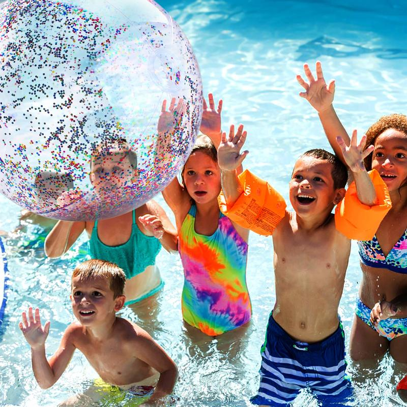 60cm Inflatable Glitter Confetti Beach Ball  Pool Toys Balls for Kids  Adult  Outdoor Summer Water Fun Toys Volleyball Football