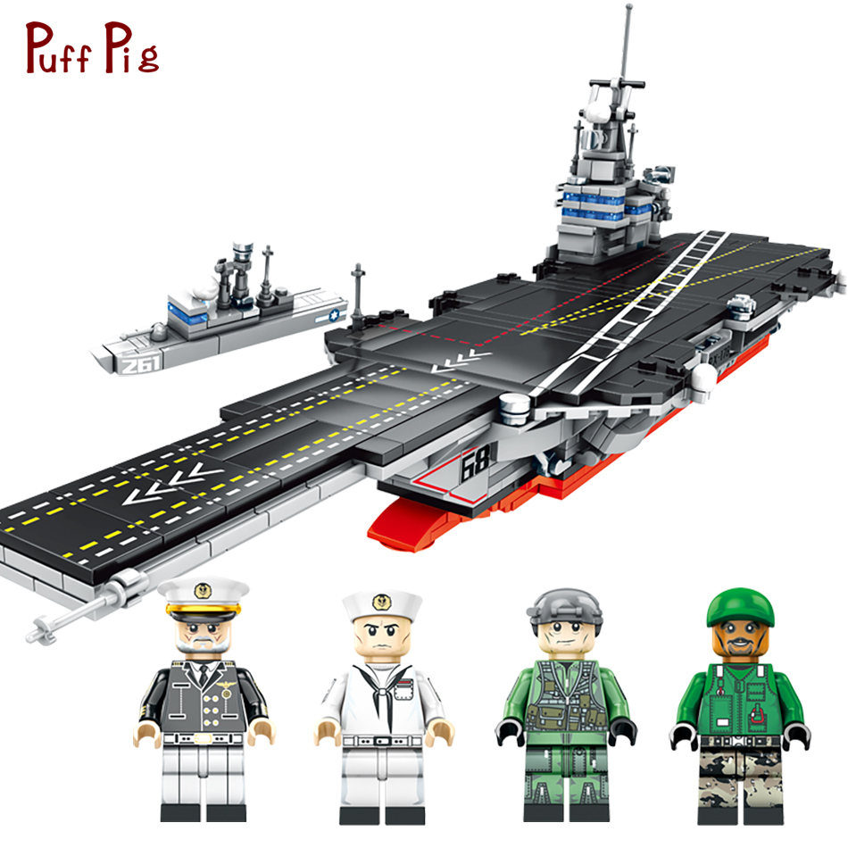 716pcs Military Army US Nimitz-Class Aircraft Warship Model Assemble Building Blocks Compatible Legoing Bricks Toys For Children sluban 883pcs military series army navy warship model building blocks cruiser plane carrier bricks gift toys for children