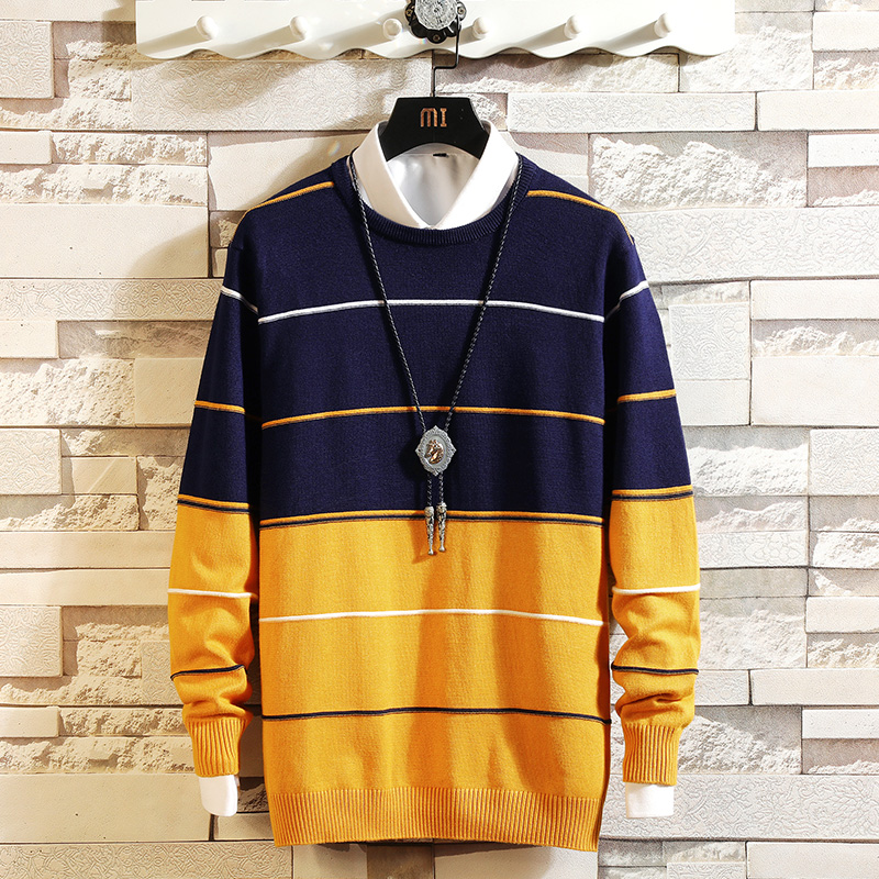 Autumn And Winter New Men's Round Neck Pullover Bottoming Sweater, Large Size Slim Stripes Color Matching Trend Wild Sweater 5XL