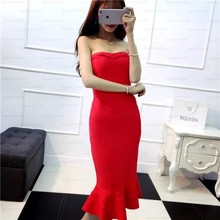 High Quality Women's Dresses 2017 Spring Strapless Sexy Pleated Zipper Slim Dresses Bra Fish Tail Dress vestido YL107