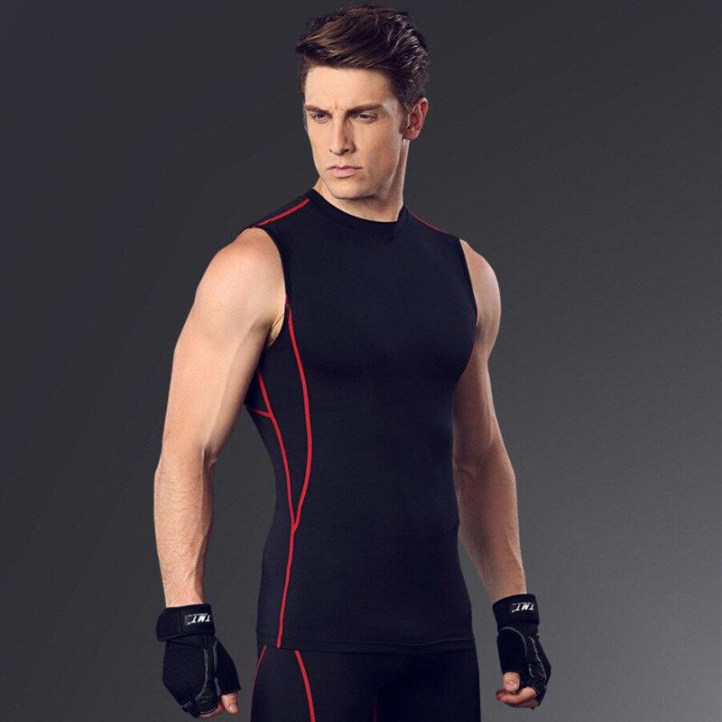 Новая быстросохнущая Бодибилдинг компрессия майка без рукавов рубашка для мужчин фитнес тренировки майка Топы майка Одежда для упражнений - Цвет: a