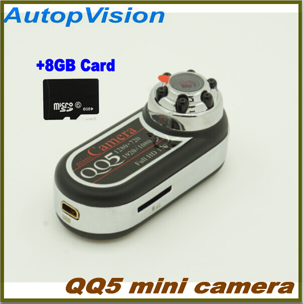Portable Mini camera QQ5 Full HD 1080p +170' Ultra-Wide Angle Motion Detector Infrared+ Night Vision Mini DV Camera Camcorder new coming small size portable infrared breast detector for women self exam