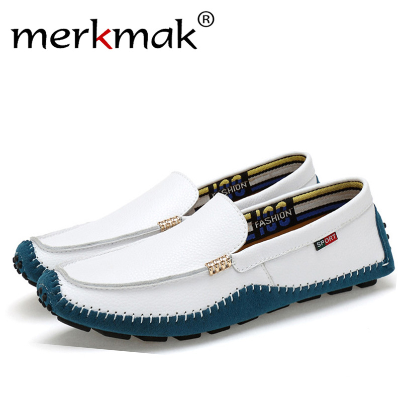 Merkmak Men Loafers Shoes Flats Slip-On Comfortable Design Casual Fashion Brand Footwear