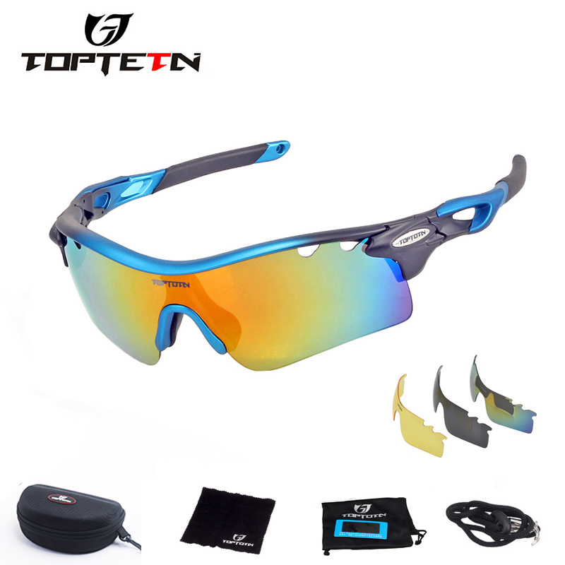 TOPTETN  Men Women Polarized Cycling Glasses Brand New Sports Outdoor Sunglasses with 3 Pairs Lens UV400