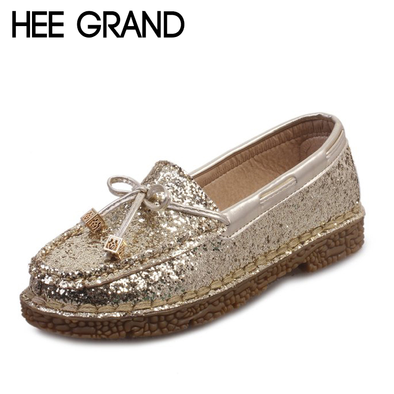HEE GRAND 2018 New Arrival Women Flats Bowknot Decoration Women Causal Fashion Oxfords with Sequins Style Shoes XWD6545
