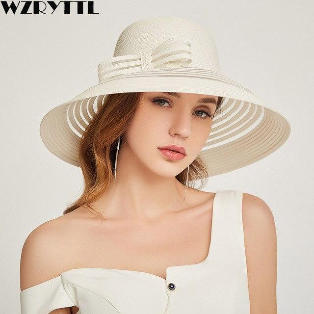 2019 New Style Women Summer Beach Hat Bow knot Accent Ladies Striped Wide Brim Floppy Sun Hat  Kentucky Derby Paper Straw Hat