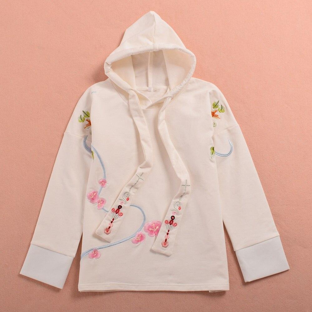 Cute Girls Lolita Birds Flower Embroidered Long Sleeve Hoody Pullover Sweatshirt White/Black