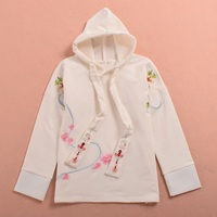 Cute Girls Lolita Birds Flower Embroidered Long Sleeve Hoody Pullover Sweatshirt White/Black