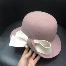 LEAYH Spring Autumn Winter Big Bowknot Hats Woollen Felt Fedoras Bowler Caps Women Fashion Party Apparel Accessories
