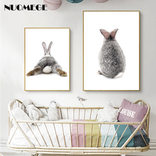 NUOMEGE Baby Style Animal Rabbit Canvas Funny Poster Wall Art Nursery Print Painting Nordic Kids Decoration Pictures Room Decor