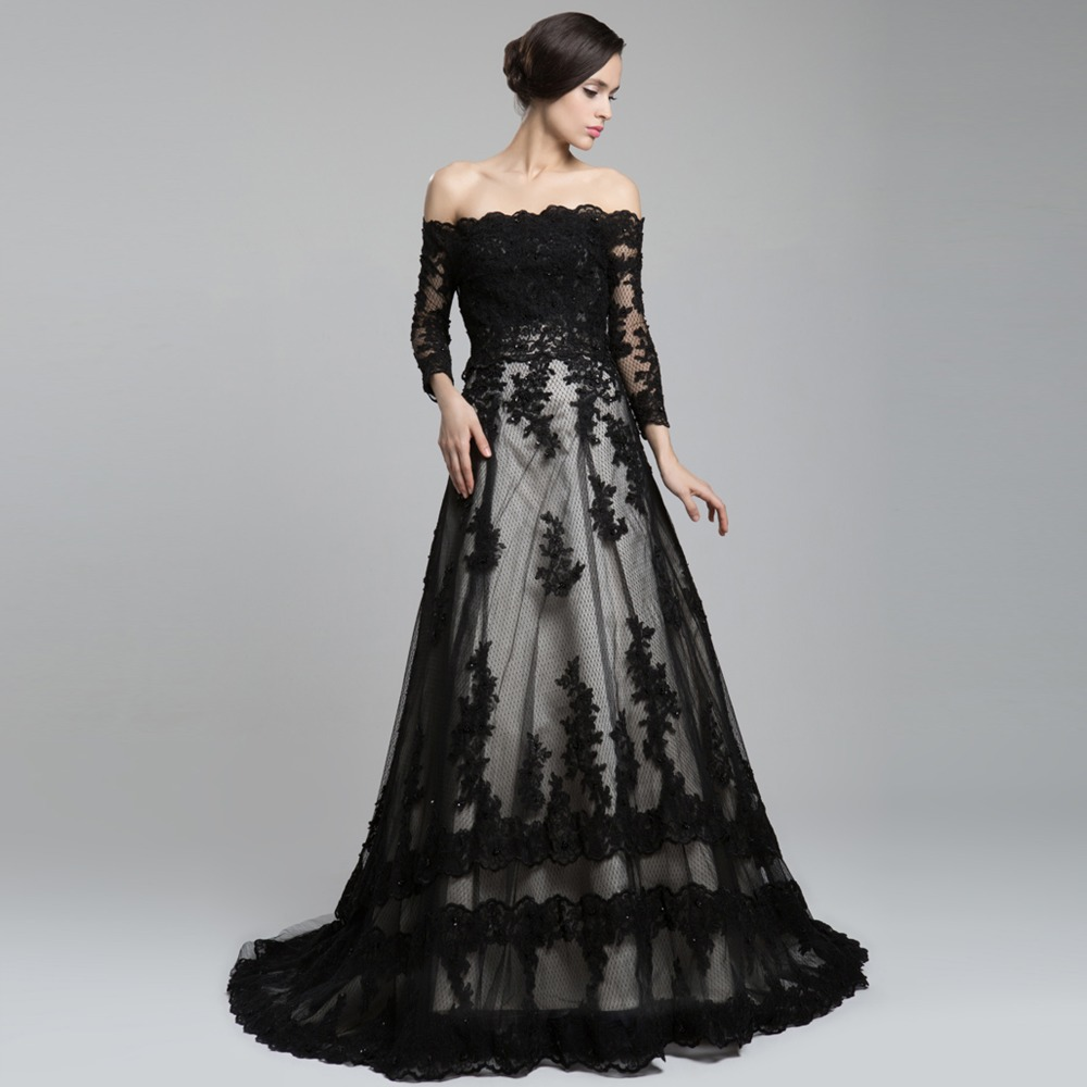 Off The Shoulder Long Sleeve Lace Train A Line Wedding Dress Black In Dresses From Weddings Events On Aliexpress Alibaba Group