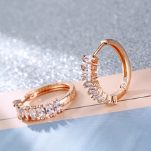 FYM Fashion 3 Colors High Quality Cubic Zircon Earrings For Women Luxury Hoop Earrings For women Bridal Jewelry Party fym high quality 7 colors rhinestone cz zircon boho hoop earrings for women steampunk style party jewelry accessories
