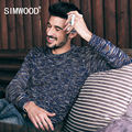 SIMWOOD 2016 novo outono inverno do vintage camisola homens pullovers moda colorido moda Malha MY2052