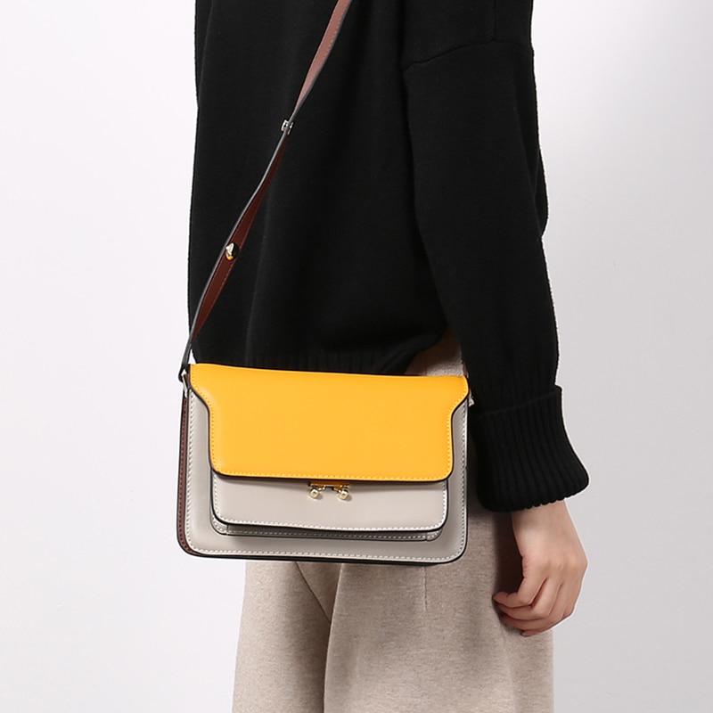 Vvmi leather woman accordion trunk bag shoulder bag crossbody mini flap bags