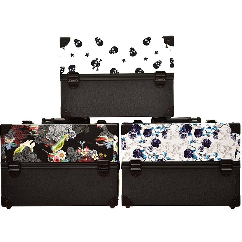 new design big size skull flower leaves ABS&PU Make up Box Makeup Case Beauty Case Cosmetic Bag Multi Tiers Lockable Jewelry Box