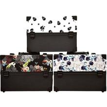 Neue design große größe schädel blume blätter ABS & PU bilden Box make-up Fall Beauty Kosmetiktasche Multi Tiers Abschließbare Schmuckschatulle