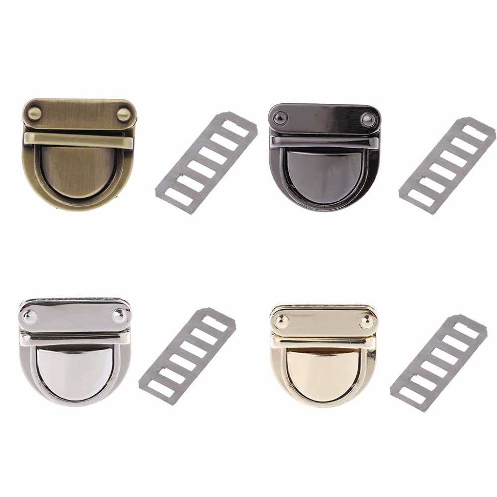 THINKTHENDO 3x3cm Metal Clasp Turn Lock Twist for DIY Handbag Bag Purse Hardware Closure 4 Color