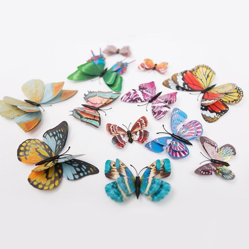 12Pcs Luminous Double Layer Butterfly 3D Wall Sticker Wedding Decorations Glow In The Dark Magnet Butterflies Fridge Stickers