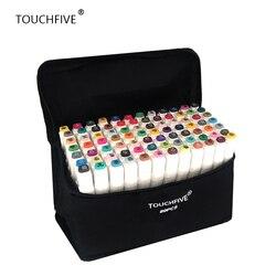 TouchFIVE 20/30/40/60/80/168 ألوان مجموعة الفن علامات الكحول المزدوج برأس الكتابة على الجدران القلم علامات مانغا مجموعة رسم فرشاة بطانة القلم