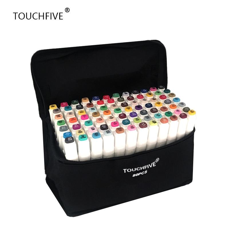 TouchFIVE 20/30/40/60/80/168 Cores set Art Marcadores De álcool Dupla Headed grafite marcadores de caneta conjunto de pincel delineador caneta de desenho mangá