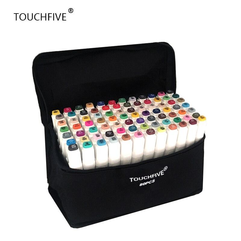 TouchFIVE 20/30/40/60/80/168 colores de arte marcadores alcohol Dual hacia graffiti pluma marcadores manga dibujo conjunto de cepillo pluma pincel