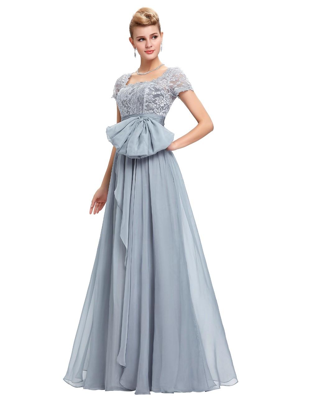 Grace Karin Chiffon Lace Elegant Long Evening Dresses Grey Formal Evening Gowns robe de soiree longue GK4445 9