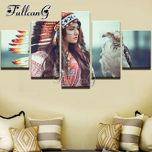 FULLCANG Beauty Full Square Diamond Embroidery 5PCS Diy Painting Cross Stitch Mosaic Kits G591