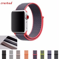 CRESTED Woven Nylon Sport Loop Band For Apple Watch 42mm 38mm Wrist Braclet Belt Fabric Like
