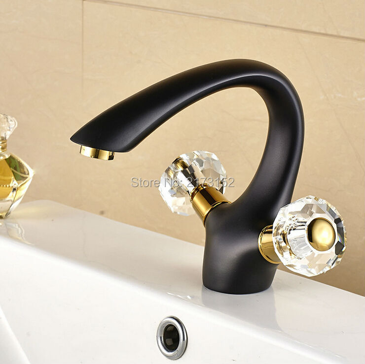 Фотография Free Shipping Luxury Grilled Black Painted Bathroom Faucet Double Crystal Handle Black Bronze Basin Sink Mixer Tap B-006