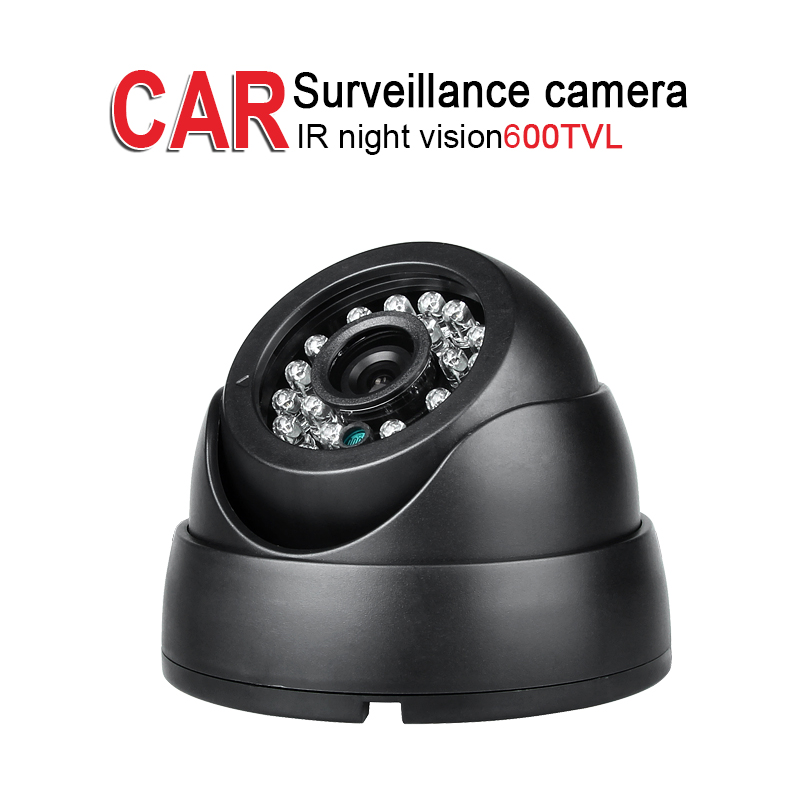 600TVL 1/3 CCD Sony IR Night Vision Dome Black Camera for Bus Truck Vehicle Indoor Surveillance Security, DC12-24V,3.6mm,Plastic 1 3 ccd waterproof surveillance security camera with 42 led night vision white dc 12v