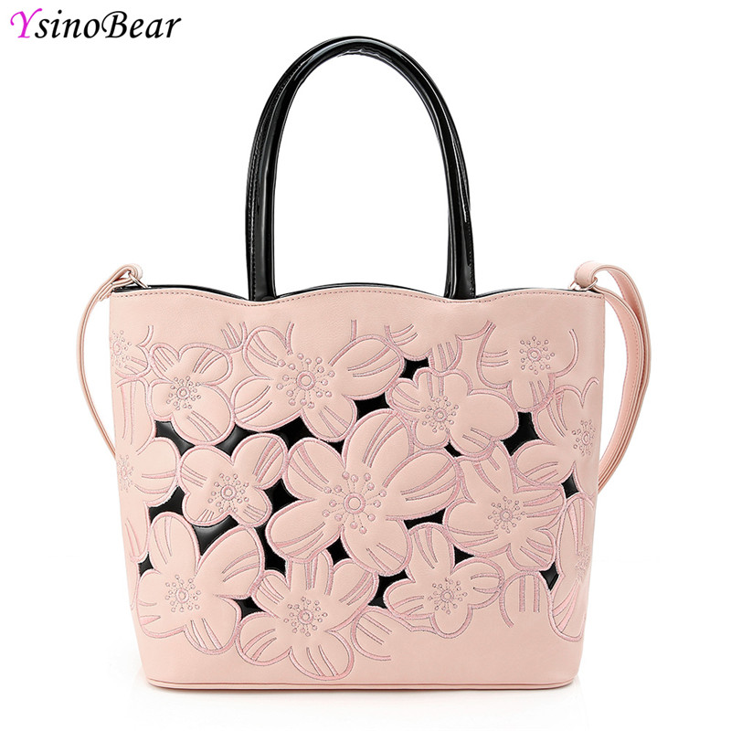 YsinoBear Luxury Handbags Women Bags Designer With Flowers Fashion Pink Soft PU Leather Tote Bags Famous Brands Shoulder Bag NEW ysinobear fashion classic ladies handbags women famous brands designer 2018 luxury high quality black pu leather shoulder bags