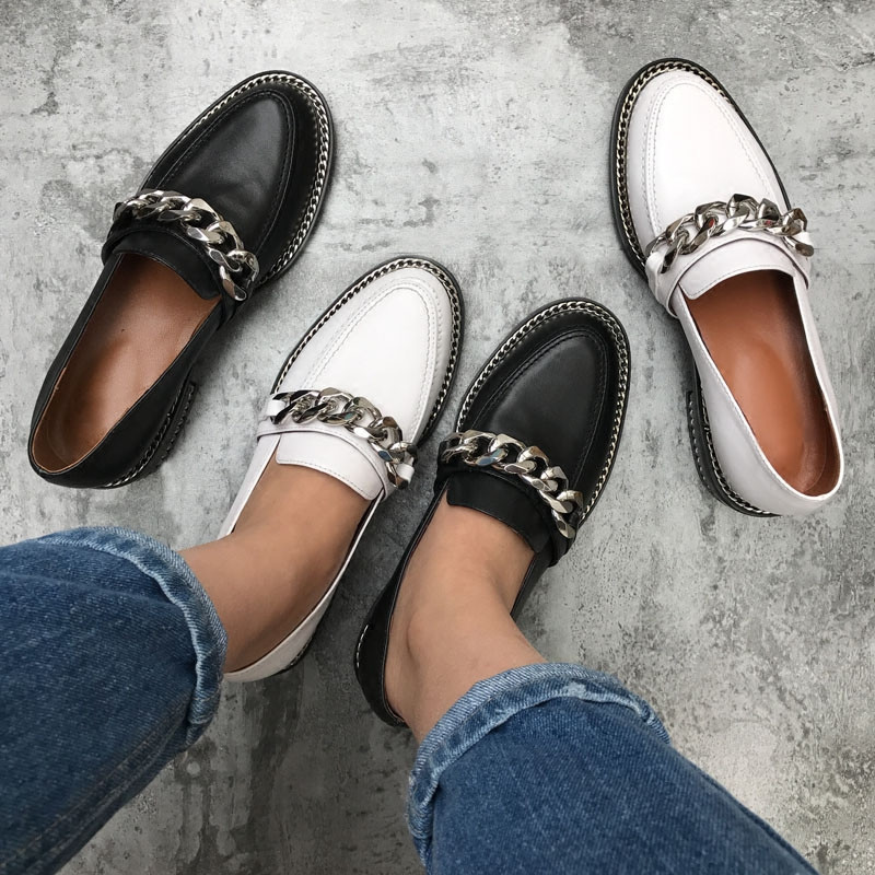 Womens Ladies Horsehair Decorative Chain Slip On Western Heel Loafer Shoes