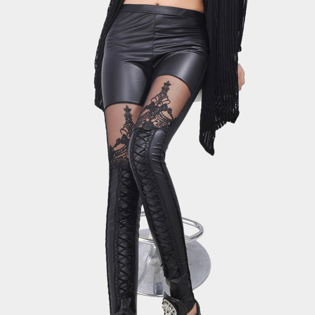High quality spring 2017 black Bud silk embroidered perspective bind PU leather Leggings Pants LC79311
