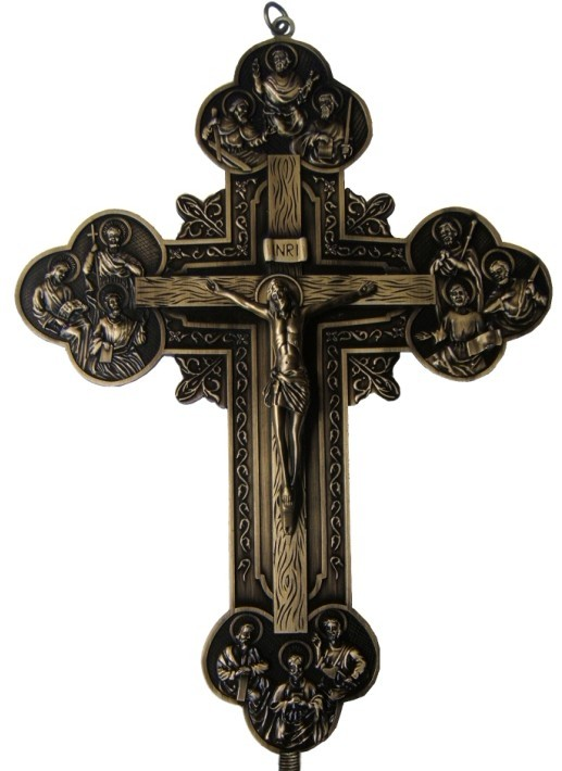 12 apôtres croix INRI chrétien jésus Emmanuel catholique saint ornement Jesu Crucifix agneau de dieu tenture murale décor environ 32.5CM - 4