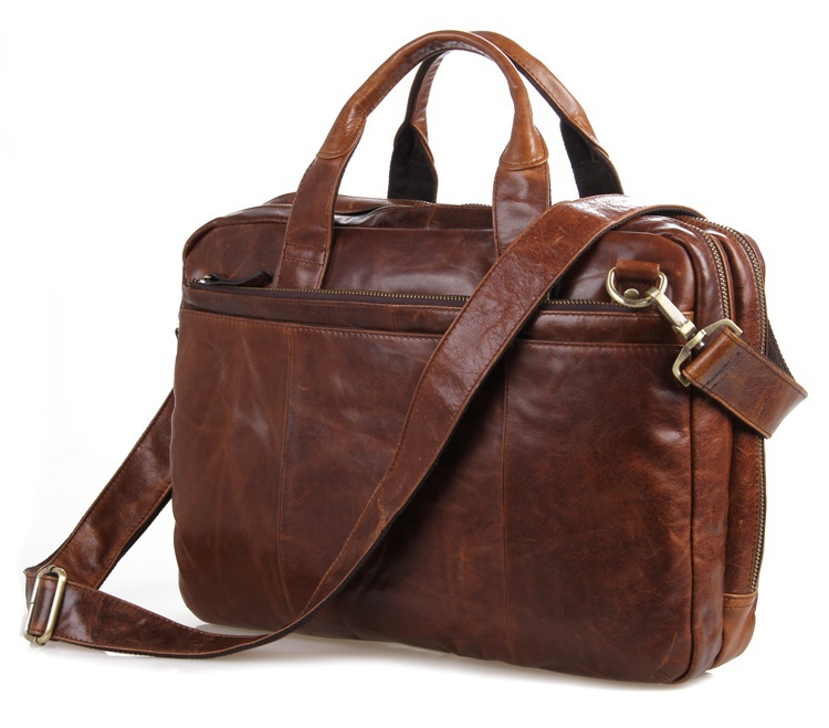 High Quality JMD Men's Genuine Oily Leather Laptop Bag Shoulder Briefcases Handbag 7092-2B