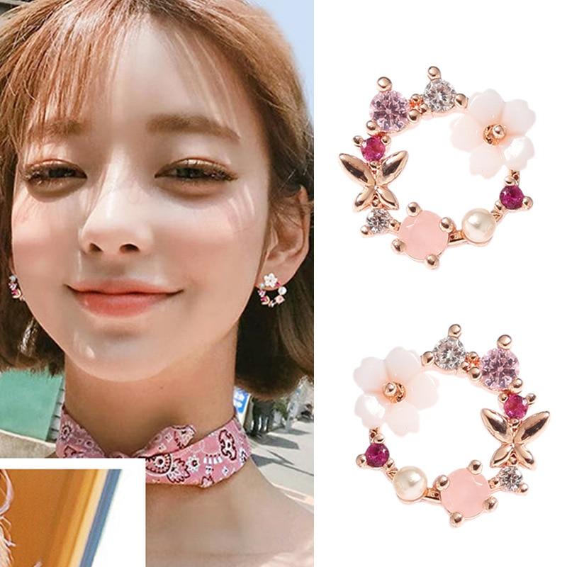 JIOFREE Jewelry Clip-Earrings Charm Flower Rhinestone Elegant Korean Pearl Wedding-Party
