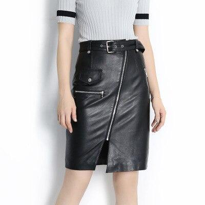 3a9fc0178 2019 nueva moda genuino cuero de oveja falda E11