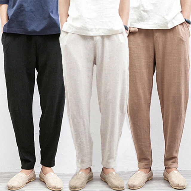 chinese traditional male beach flax hemp loose drawstring trousers