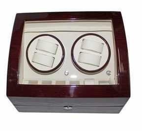 Бесплатная доставка 4 + 6 деревянный автоподзаводчик с глянцевой рояльной краской, с автоматическим заводом часов часы в коробке чехол для хранения дисплей