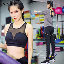 2017 New Sports Suit Women Tight Sleeve Yoga Set Mesh Finess Bra Elastic Legging Pants Fitness Comfortable Sport Wear 3 Piece