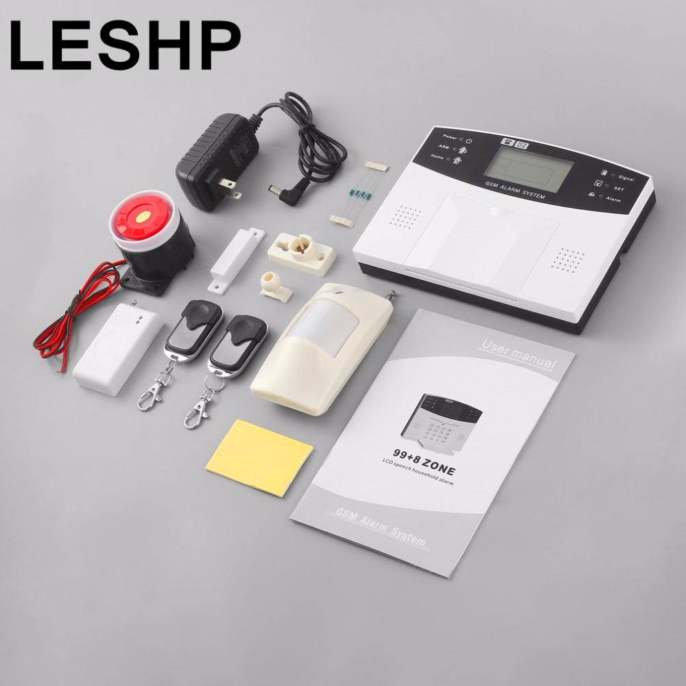 LESHP 8 Wired 99 Wireless Defense Zone LCD Display PSTN GSM SMS Home Burglar Security Alarm System Wireless PIR Detector Sensor free shipping 99 wireless zone and 2 wired quad band lcd home security pstn gsm alarm system 3 pet immune pirs 5 new door sensor