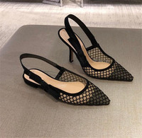 2019 Women Lace Pumps 6.5CM Stiletto High Heel Bowknot Cut outs Breathable Heels Wedding Dress Shoes Pointed Toe Slip on pumps