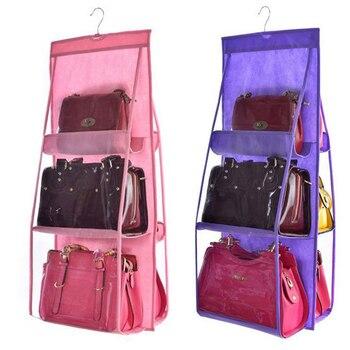 6 Pocket Hanging Bag  Handbag Organizer Wardrobe Transparent Storage 3