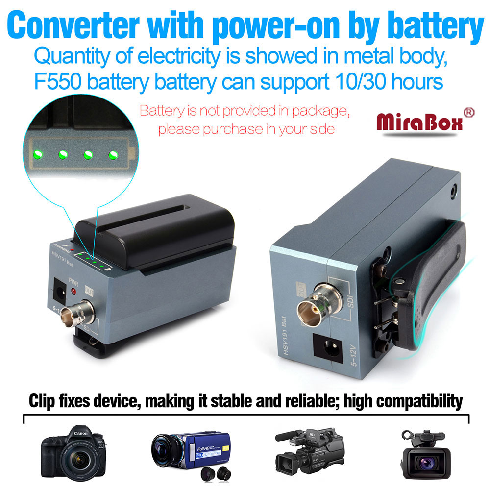 MiraBox battery converter hdmi to sdi support 1080p 1080i full HD HDMI to SD-SDI/HD-SDI/3G-SDI BNC Adapter with Battery Charging b546 o to 220