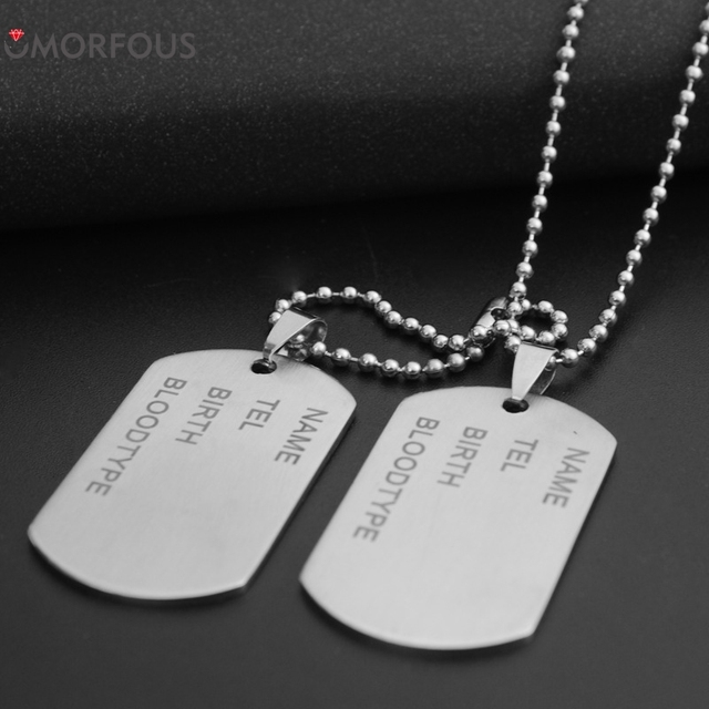 10 Set/Lot Military Tag Necklace Korean Jewelry Men 's