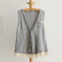 Autumn Casual Sweet Lace Embroidery Sweater Vest Women S V Neck Lace Knit Female Pocket Single