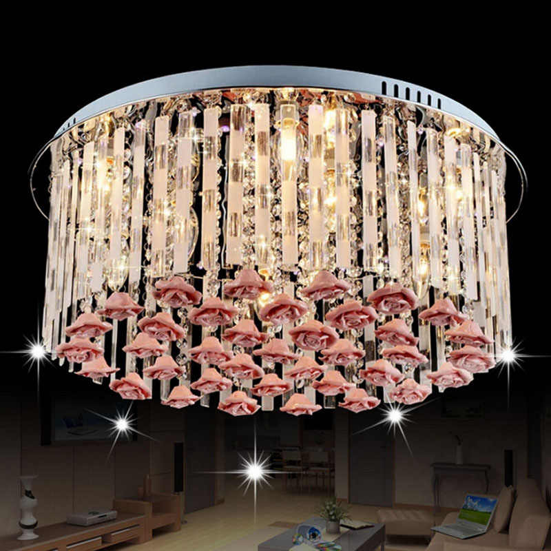 Новая романтическая теплая лампа для гостиной спальни Хрустальная Светодиодная