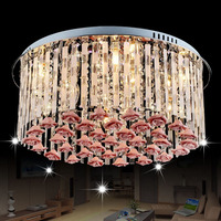 New romantic warm living room bedroom crystal lamp LED ceiling lamp LED E14*9 Remote Control Circular Rose Lamp Bedroom lamps