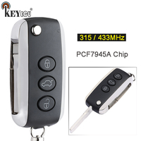 KEYECU 315MHz/ 433MHz PCF7945A/ 46 Chip Replacement Flip Remote Car Key Fob 3 Button for Bentley Con*tinental GT GTC Flying Spur